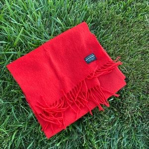 Brooks brothers red wool fringe scarf